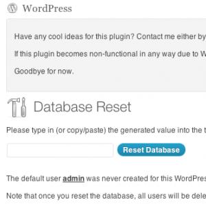 افزونه ی ریست کردن پایگاه داده وردپرس